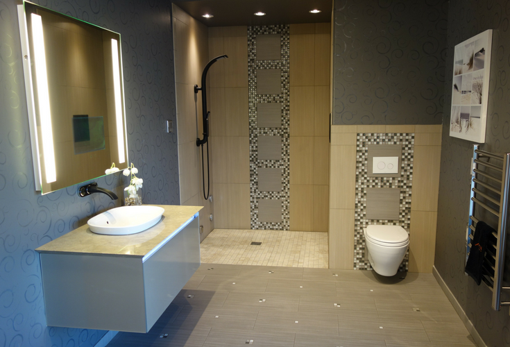 Barrier free one level wet room shower for aging in place | Innovate Building Solutions