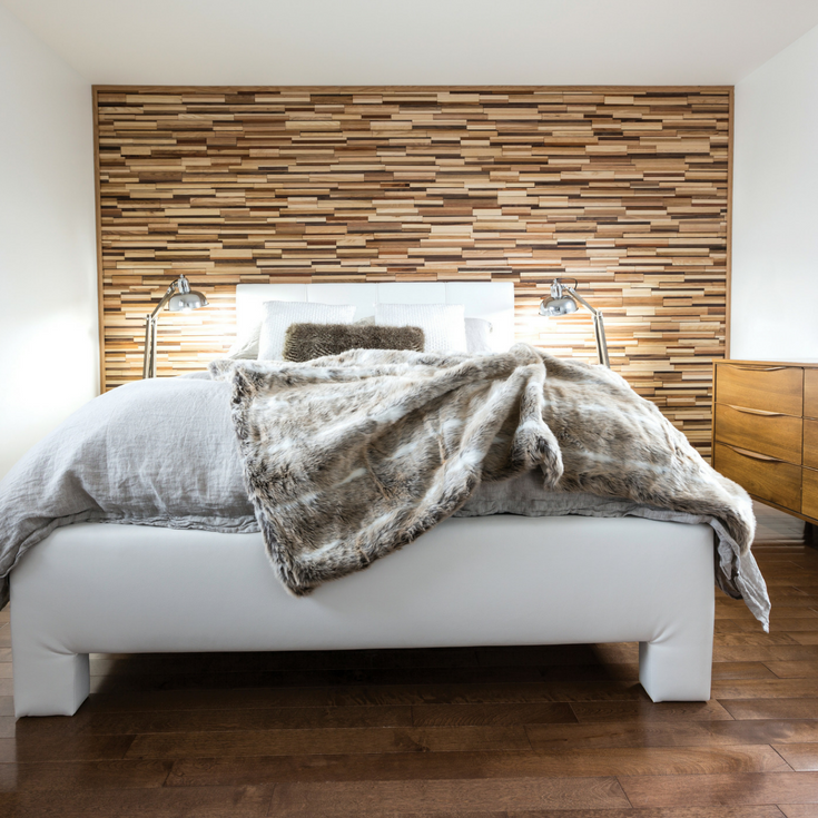 3D wood feature wall in a contemporary bedroom | Innovate Building Solutions