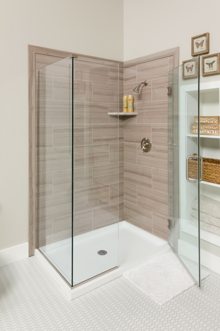Decorative faux tile wall panels are simple to maintain easy to install and look like tile | Innovate Building Solutions #FauxWall #WallPanels #ShowerWall #Panels