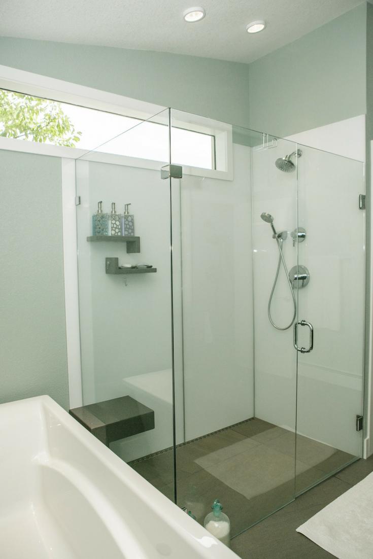 High Gloss Shower Wall Panels | Innovate Building Solutions #HighGlossPanels #ShowerSystem #BoringShower