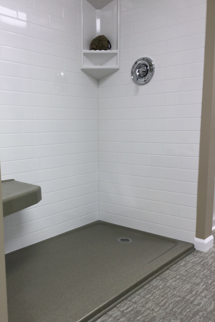 Low profile shower pan for aging in place | Innovate Building Solutions #AgeInPlace #AgingInPlace #ShowerPan
