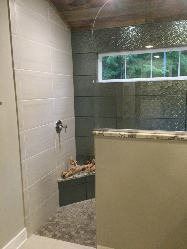Transom windows add light and safety to a remodeled bathroom in Columbus Ohio | Innovate Building Solutions #TransomWindow #Window #BathroomWindow