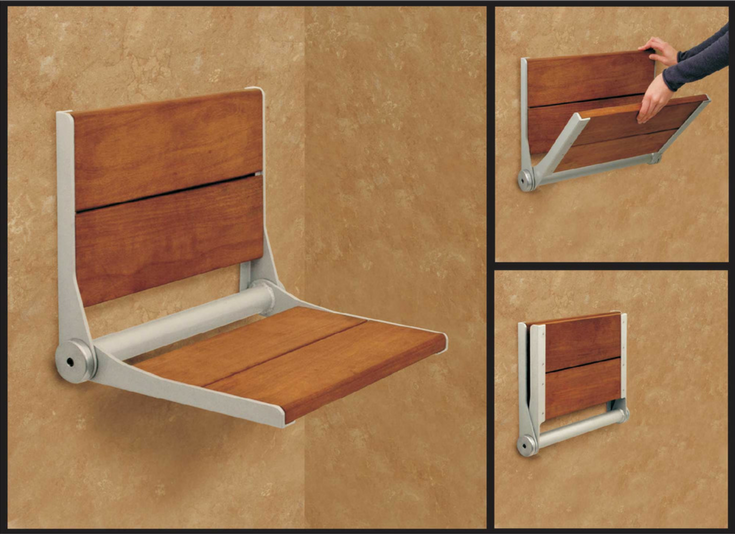 Folded down shower seating | Innovate Building Solutions #ShowerSeating #FoldedSeat #BathroomSeating