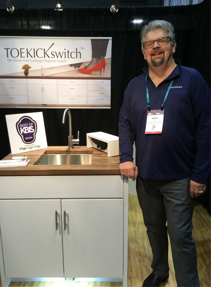 Mark Muld the Inventor of the Toe Kick Switch which makes it simple to turn on your garbage disposal | Innovate Building Solutions Blog #GarbageDisposal #Switches #Kitchen