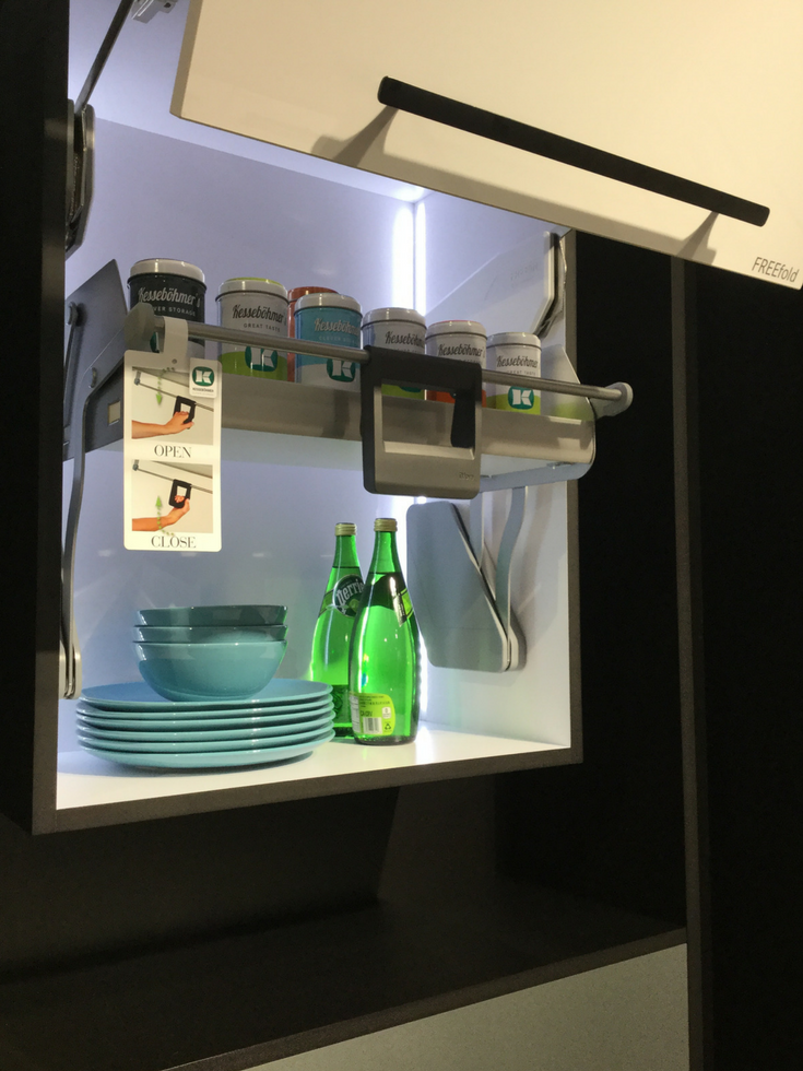 Pull down upper kitchen cabinet organizer system | Innovate Building Solutions Blog #KitchenCabinets #Organizer #KitchenOrganizer