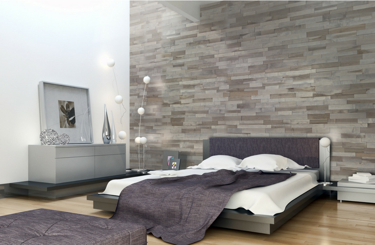 Textured 3D Feature Wall Panels Upscale Bedroom | Innovate Building Solutions #FeatureWall #WallPanels #WoodPanels #Bedroom
