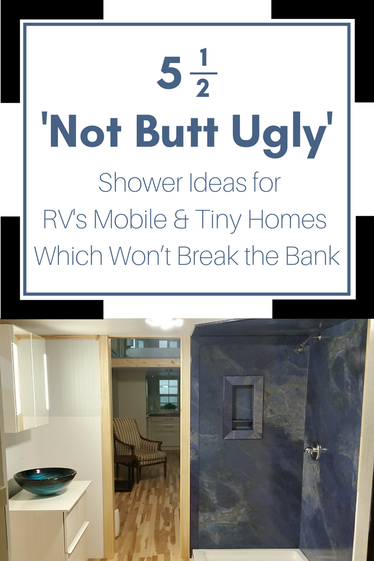 5 Stylish Shower Panel & Base Ideas for an RV, Tiny Home or ... on home depot handicap shower, mobile homes with garages, modular home disabled shower, mobile home shower pan, mobile home shower tile, mobile home shower stalls, industrial handicap shower, handicap shower rails for outside the shower,