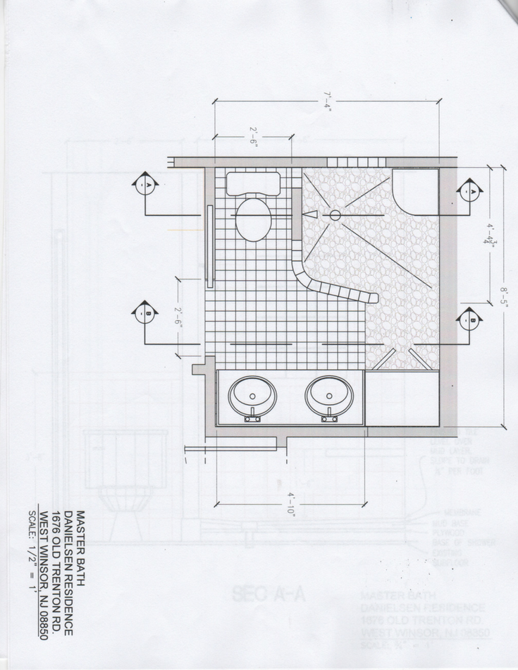 An architectural plan for a small bathroom which used a glass block walk in shower | Innovate Building Solutions