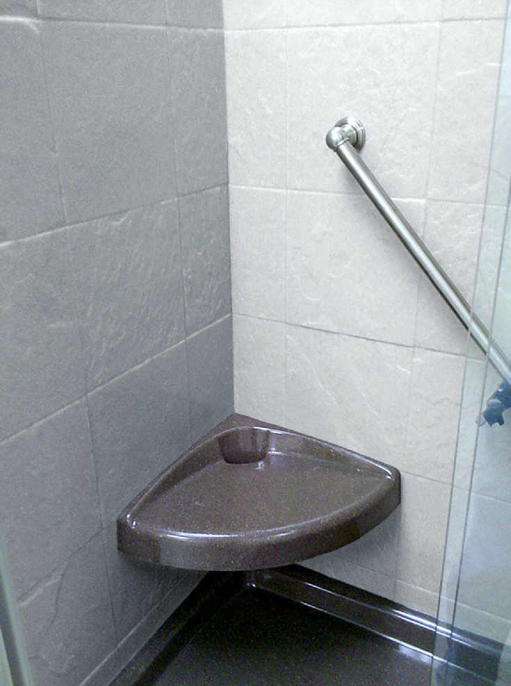 Corner Seat Solid Surface | Innovate Building Solutions | #CornerSeat #ShowerSeat #SolidSurface