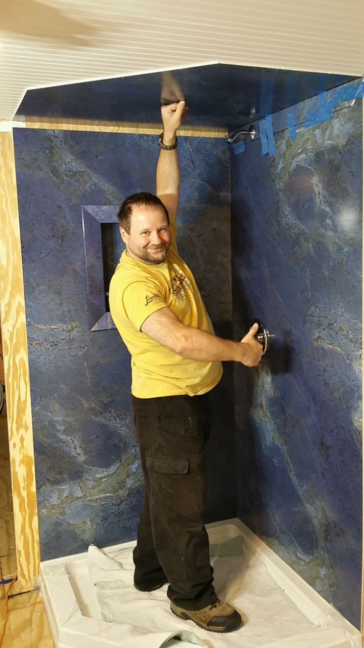 Faux Stone Wall Panels Installed Tiny Home | Innovate Building Solutions | #FauxStone #WallPanels #TinyShower
