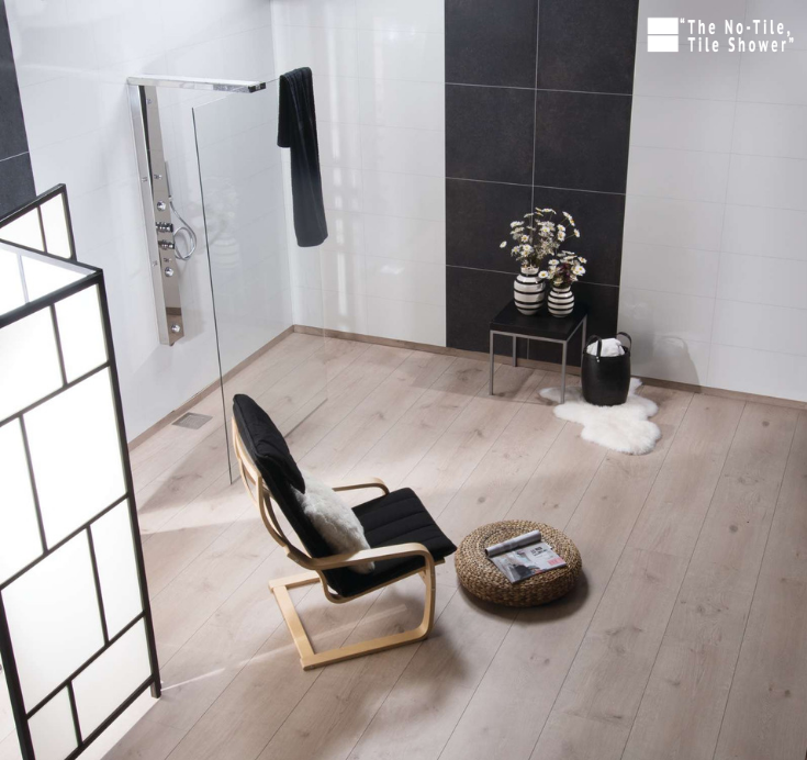 The No tile tile shower laminated wall panels in a wet room bath remodel   Innovate Building Solutions