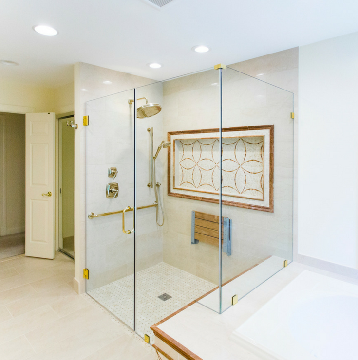 One Level Shower | Innovate Building Solutions #BathroomRemodel #Onelevewetroom #ClevelandRemodeling