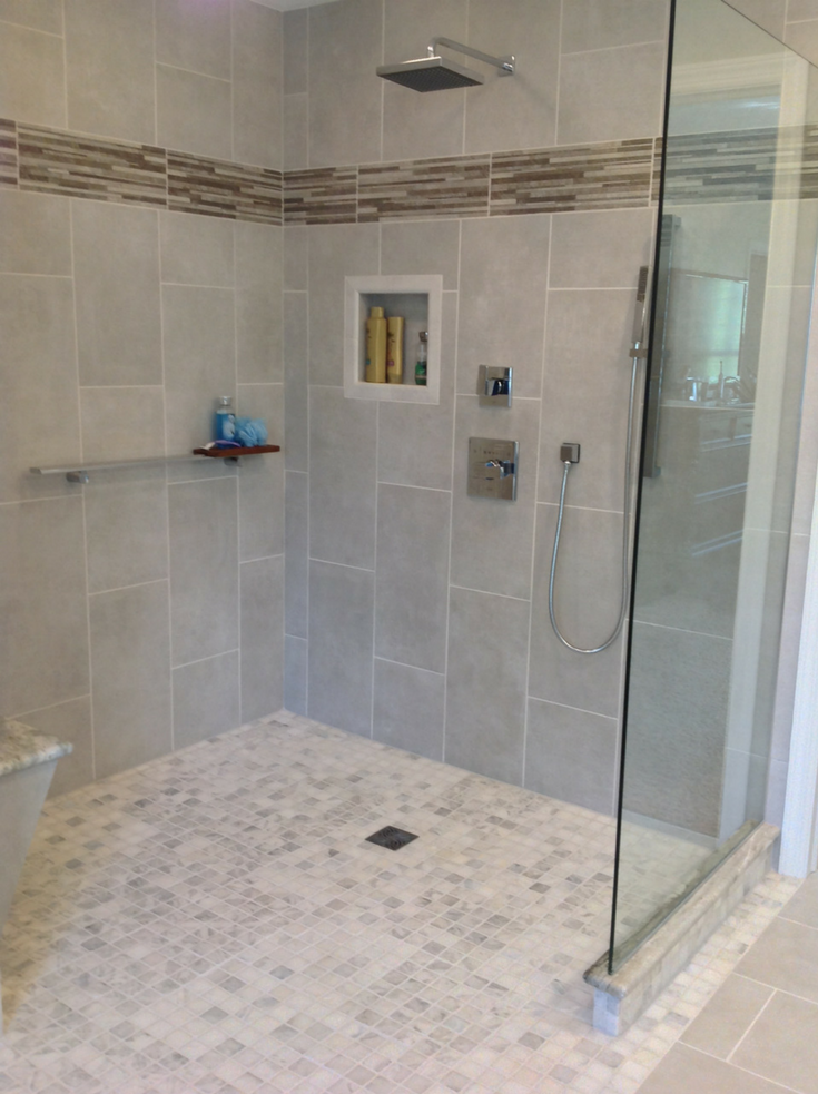 One level waterproof tile shower in Cleveland Ohio | Innovate Building Solutions