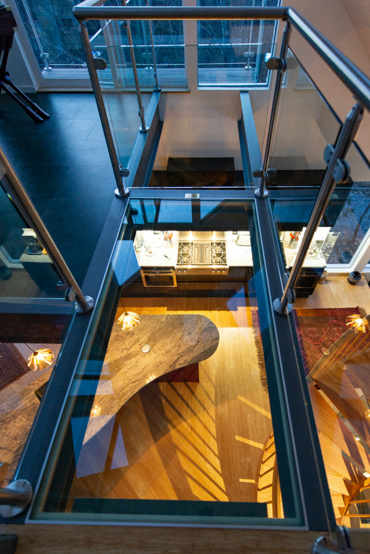 Hole by Glass Floor | Innovate Building Solutions | #GlassFloor #HoleInFloor #UniqueHomes