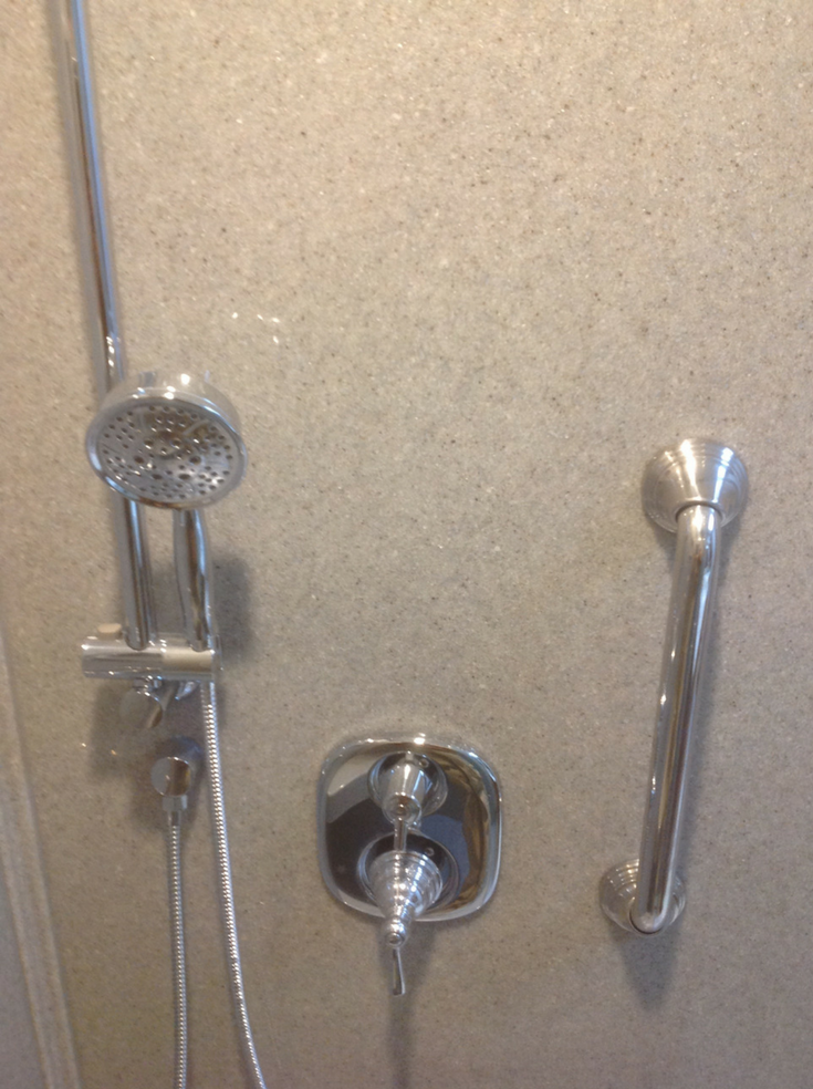 Stylish Grab Bars For Shower | Innovate Building Solutions | #GrabBars #ShowerWalls #ShowerAccessories