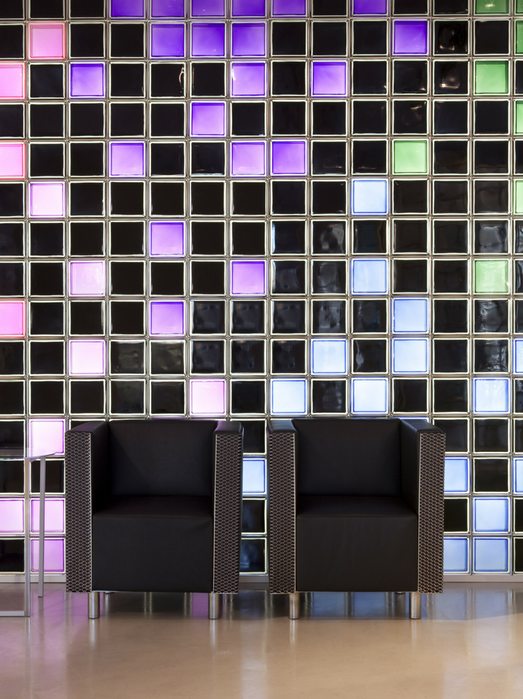 Glass Block Wall with Different Color Glass Blocks | Innovate Building Solutions | #ColorGlassBlock #GlassBlockPatterns #GlassBlockWallDesign