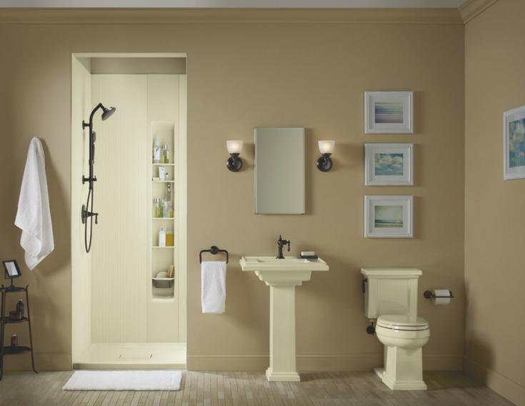 Kohler Textured Cord Design in a small shower | Innovate Building Solutions | #KohlerWallPanels #ShowerWall #BathroomDesign
