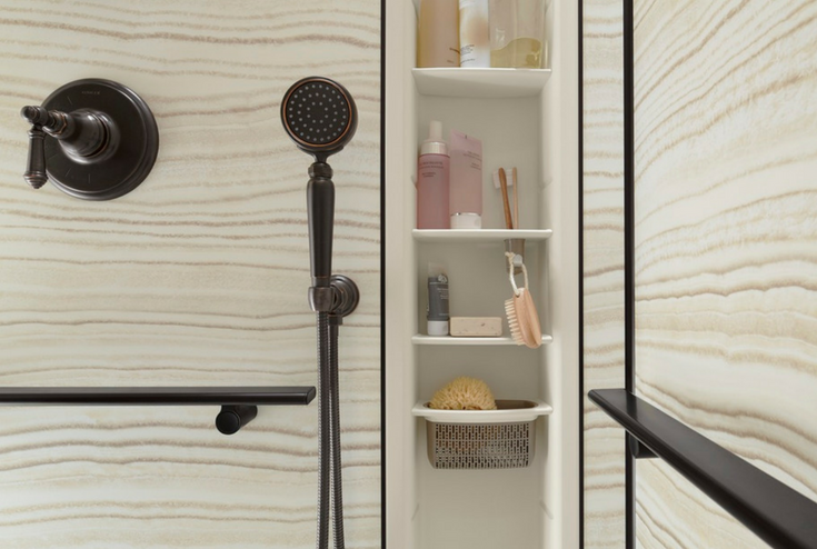 Kohler accessories for a shower | Innovate Building Solutions | #KohlerAccessories #BathroomProducts #ShowerWall