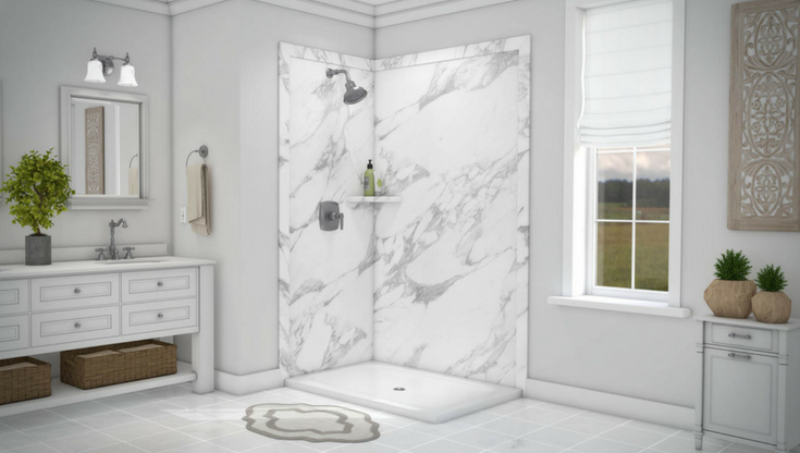 Faux stone wall panels calcutta white | Innovate Building Solutions | #ShowerPanels #BathroomRemodel #DIYShowerPanels