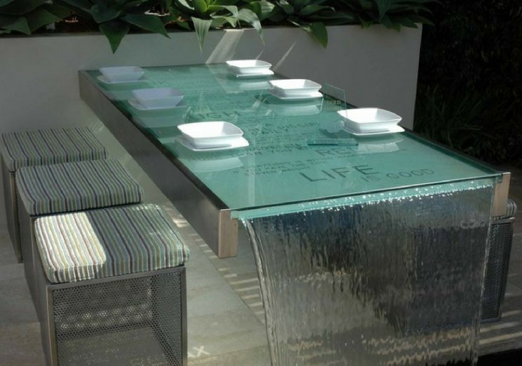Glass bistro water table www.freshpatio.com resized | Innovate Building Solutions | #GlassTable #GlassDesign #SturcturalGlass