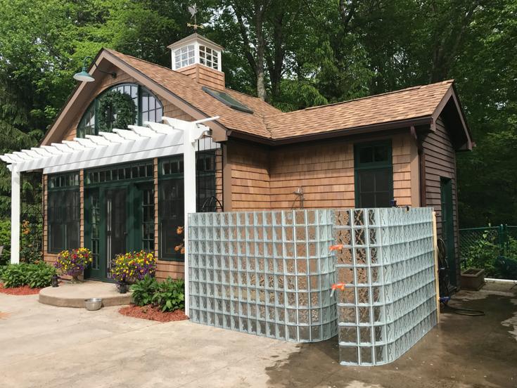 Pool house glass block shower   Innovate Building Solutions   #OutdoorShower #GlassBlockShower #GlassBlockWall