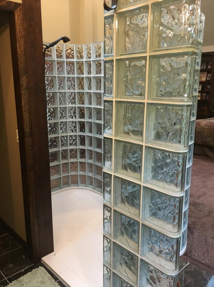 Shower base made for glass block walls   Innovate Building Solutions   #showerbase #GlassBlockShower #ShowerRemodel
