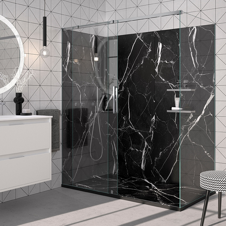 Black marble low profile solid surface shower pan