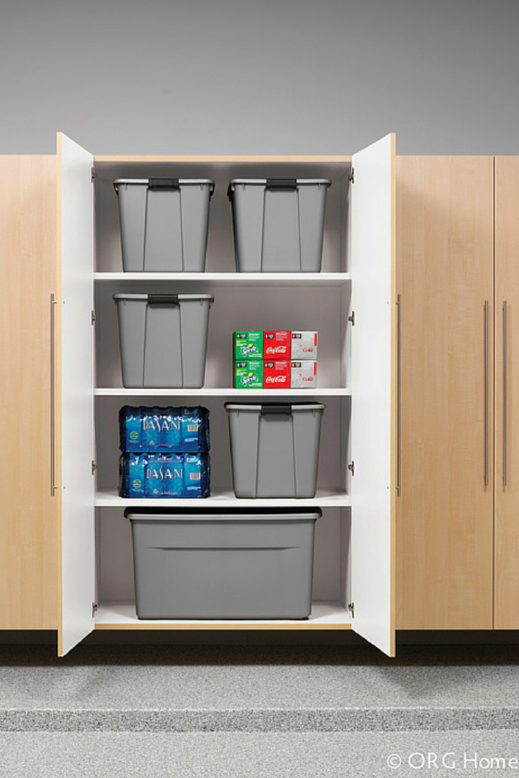 Garage cabinetry for basement storage | Innovate Home Org | Innovate Building Solutions | #HomeOrganization #GarageCabinetry #StorageUnits