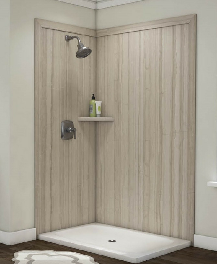 Grout free wall panels faux stone look | Innovate Building Solutions | #WallPanels #SolidSurface