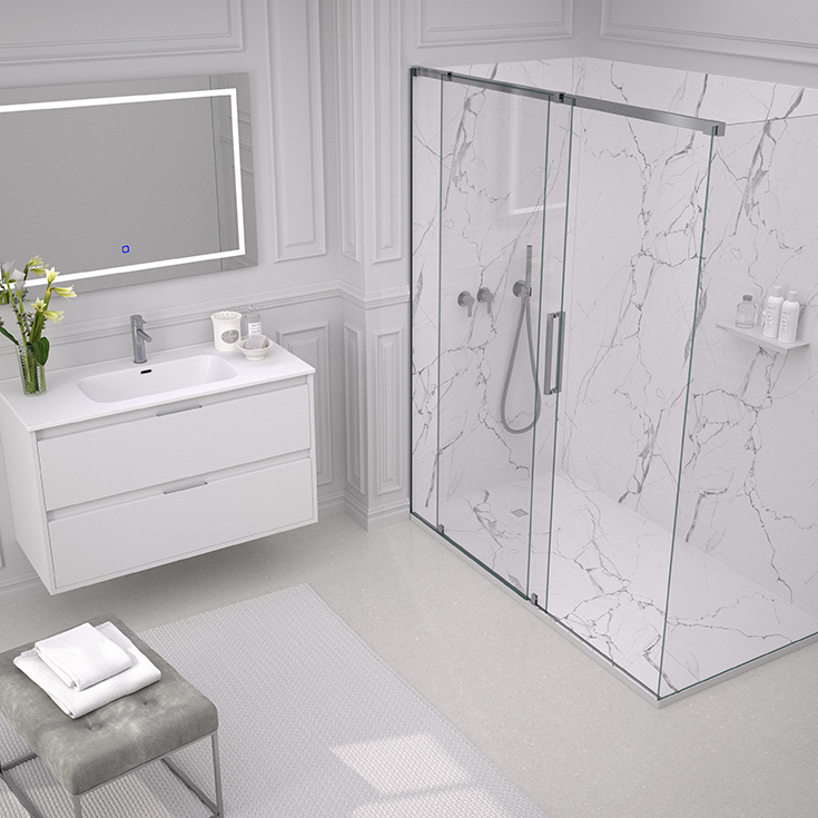 White marble solid surface low profile shower pan 60 x 32 size for a tub to shower conversion