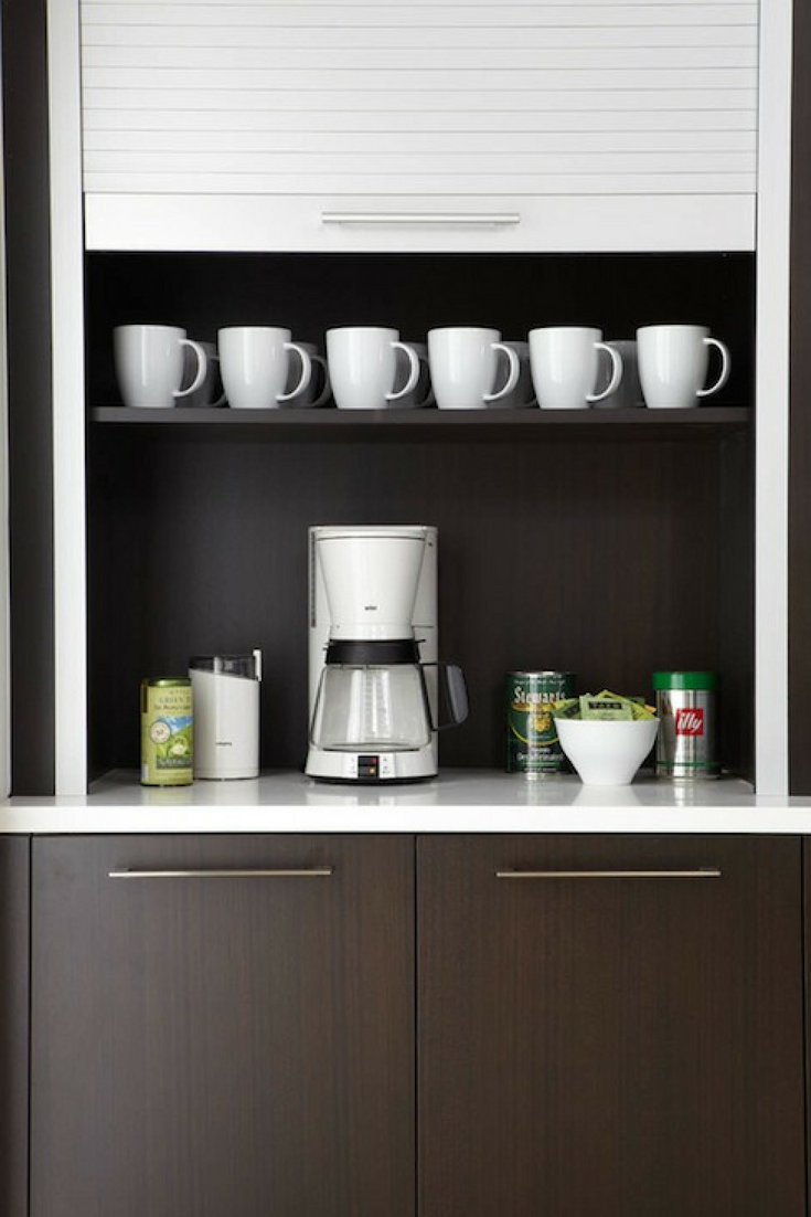 Coffee station in Closet www.decorpad.com | Innovate Building Solutions | #CoffeeMaker #CoffeeStorage #CoffeeStation
