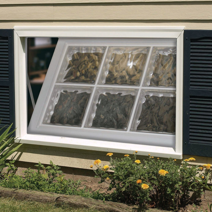 Acrylic block basement window hopper style | Innovate Building Solutions | #AcrylicWindows #AcrylicGlassBlock #BasementWindows