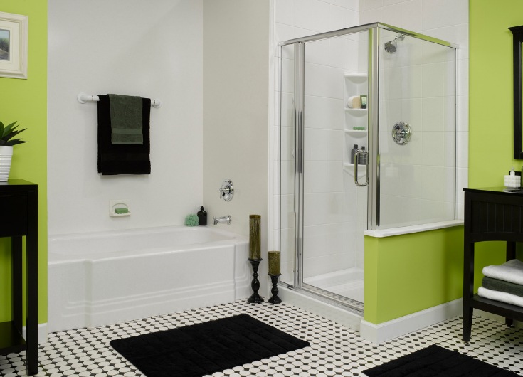 Acrylic shower wall surrounds in a tub and shower | Innovate Building Solutions | #ShowerWallPanels #AcrylicPanels #BathroomRemodel