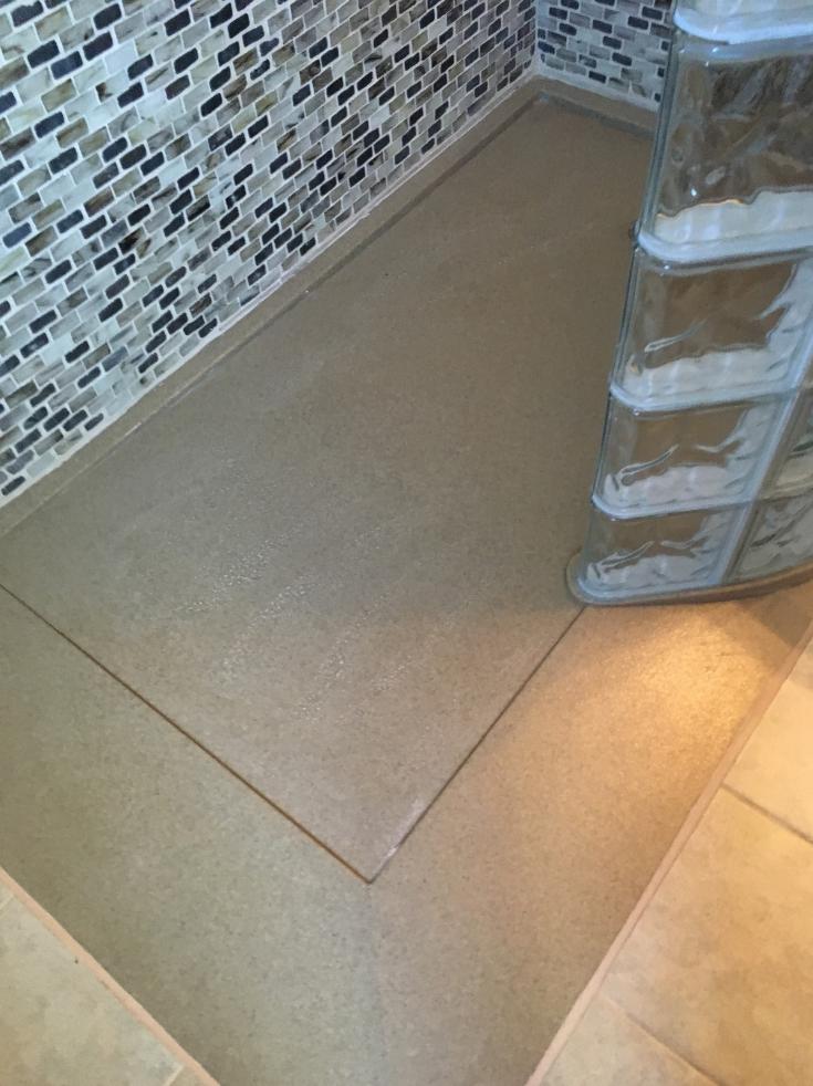 Cultured granite shower pans   Innovate Building Solutions   #ShowerPans #CulturedGranite #GlassBlockBase