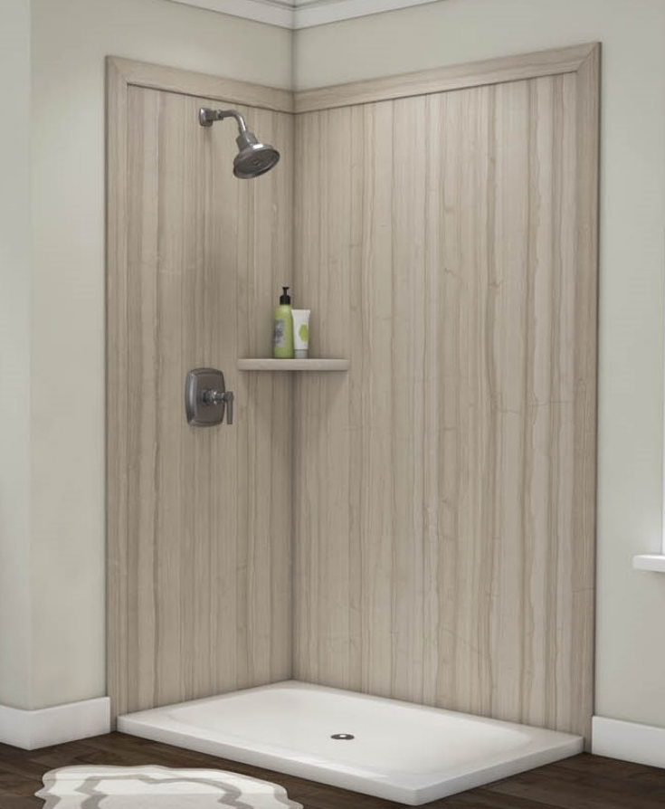 Decorative faux stone shower wall panels | Innovate Building Solutions | #FauxStone #ShowerWalls #PVCShowerPanels