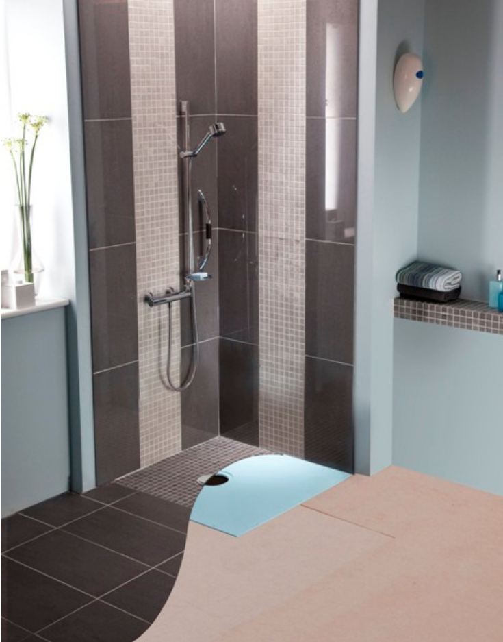 One Level Wet Room System | Innovate Building Solutions | #OneLevelShower #RollInShower #BathroomRemodel