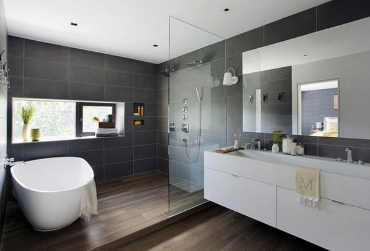 Shower and freestanding tub same space | Innovate Building Solutions | #ShowerandTub #FreestandingTub #BigBathroom