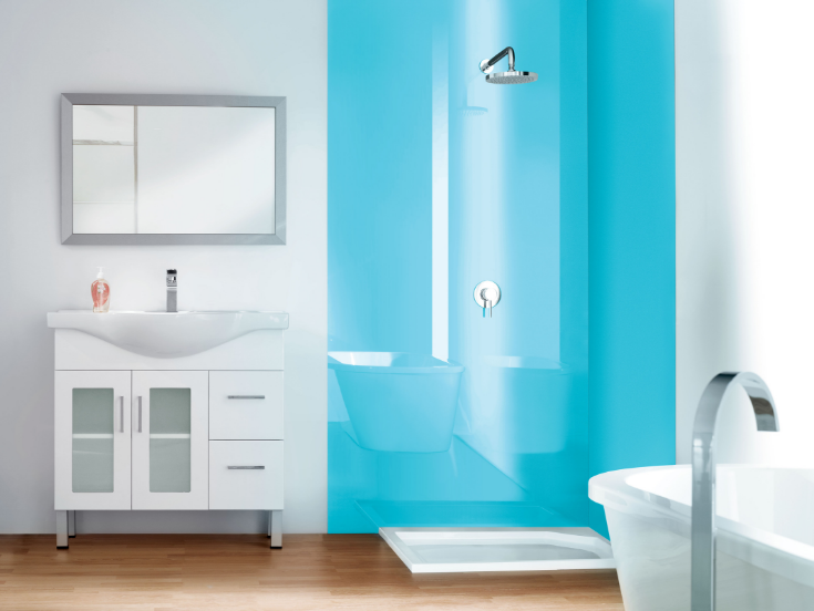 All glass look high gloss light blue color | Innovate Building Solutions | #ShowerPanels #HighGloss #BathroomRemodel