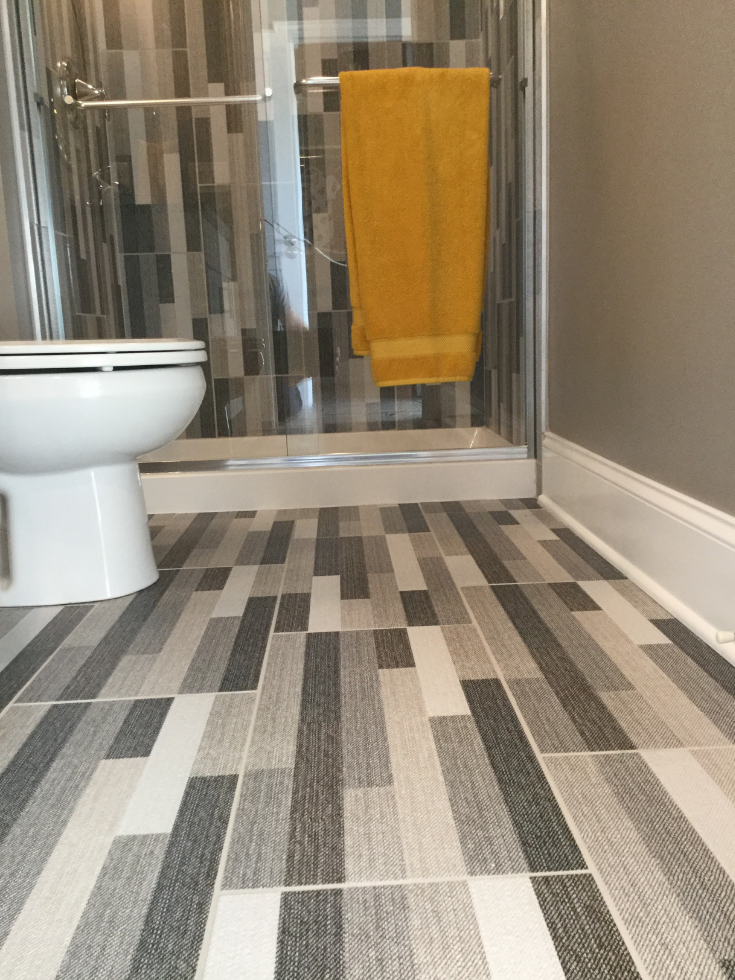 Fabric tiles in Bob Webb homes | Innovate Building Solutions | #FabricFloors #BathroomTrends #FabricTiles