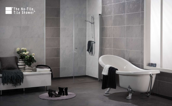 No Tile Tile Wall Laminated Wall Panels | Innovate Building Solutions | #NoTile #TileShower #ShowerWall #TiledBathroom