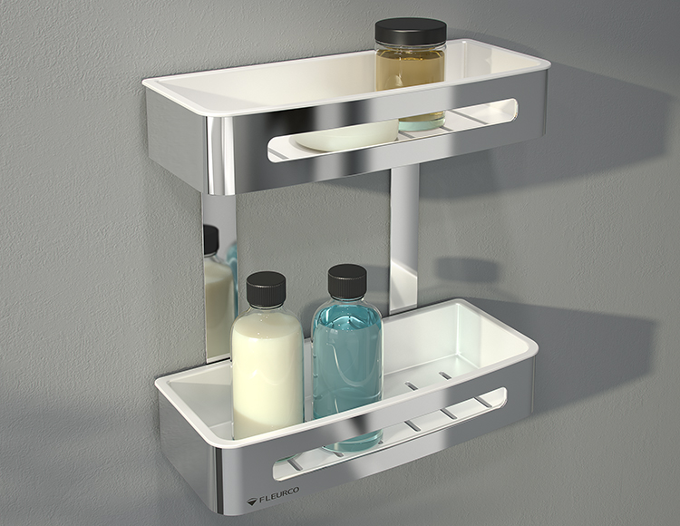 Stainless steel contemporary double corner shower shelf with removable easy to clean tray inserts | Innovate Building Solutions
