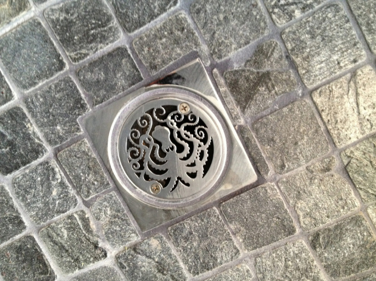 Decorative drain cover from Designer Drains | Innovate Building Solutions | #DrainCover #ShowerBase #ShowerRemodel