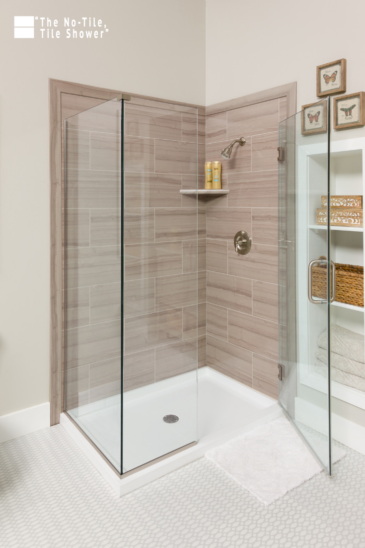 Grout free wall panels not over old tile for Bathroom Shower | Innovate Building Solutions | #GroutFreeShower #TilelessShower #NoTileTileShower
