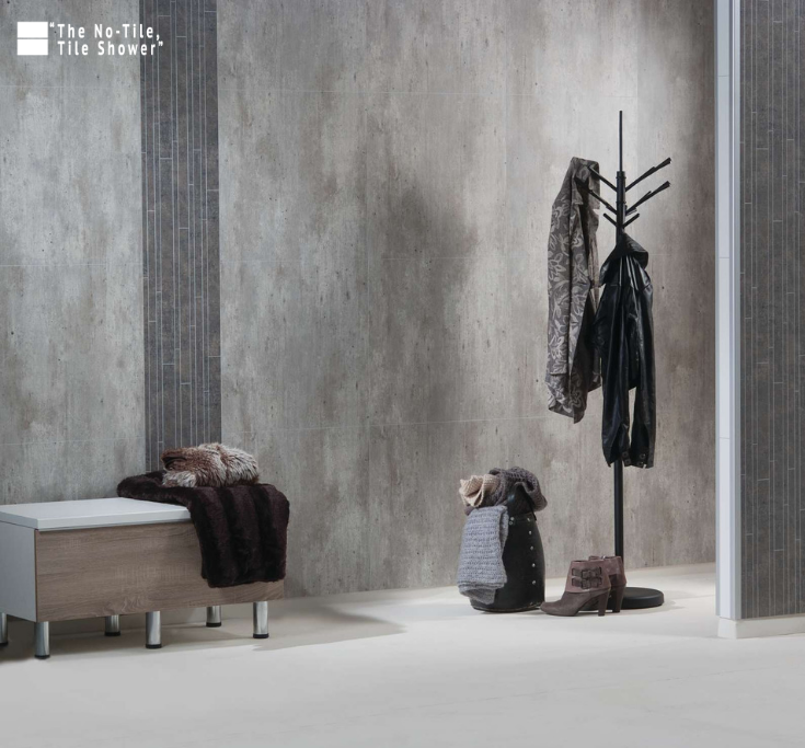 Industrial Cracked Cement bathroom wall panels   Innovate Building Solutions   #CementLook #BathroomWallPanels #BathroomRemodelDIY #NoTileTileShower