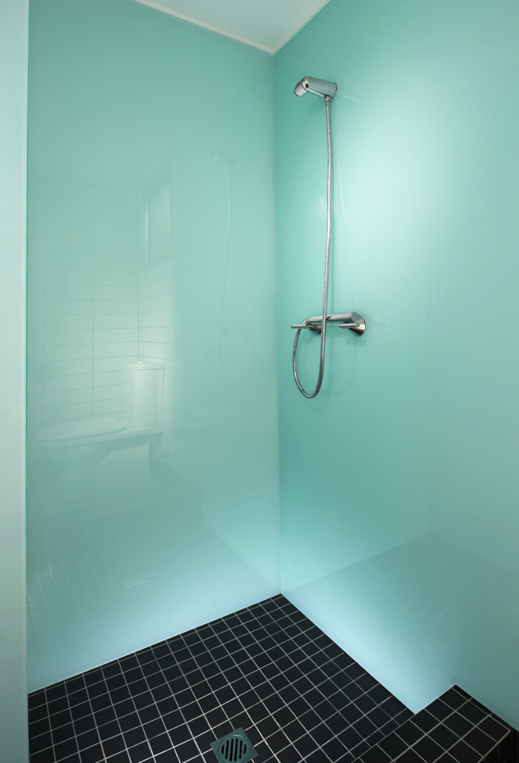 Modern Coastal with Light Green High gloss bathroom wall panels | Innovate Building Solutions | #HighGlossPanels #WallPanels #BathroomDesign