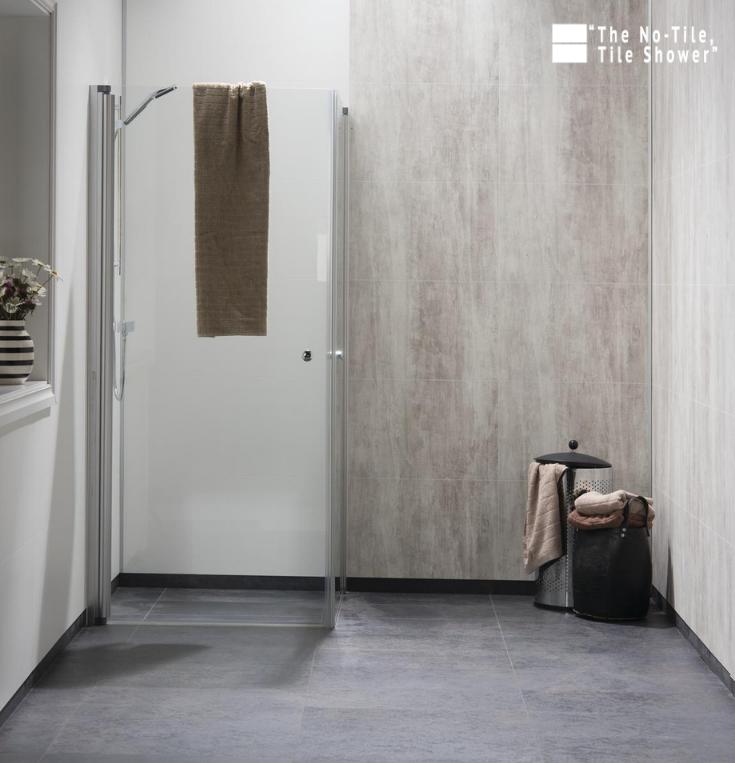 Modern Farmhouse Shower Wall Panels Abbey Shale   Innovate Building Solutions   #Farmhouse #BathroomDesign #NoTileTileShower