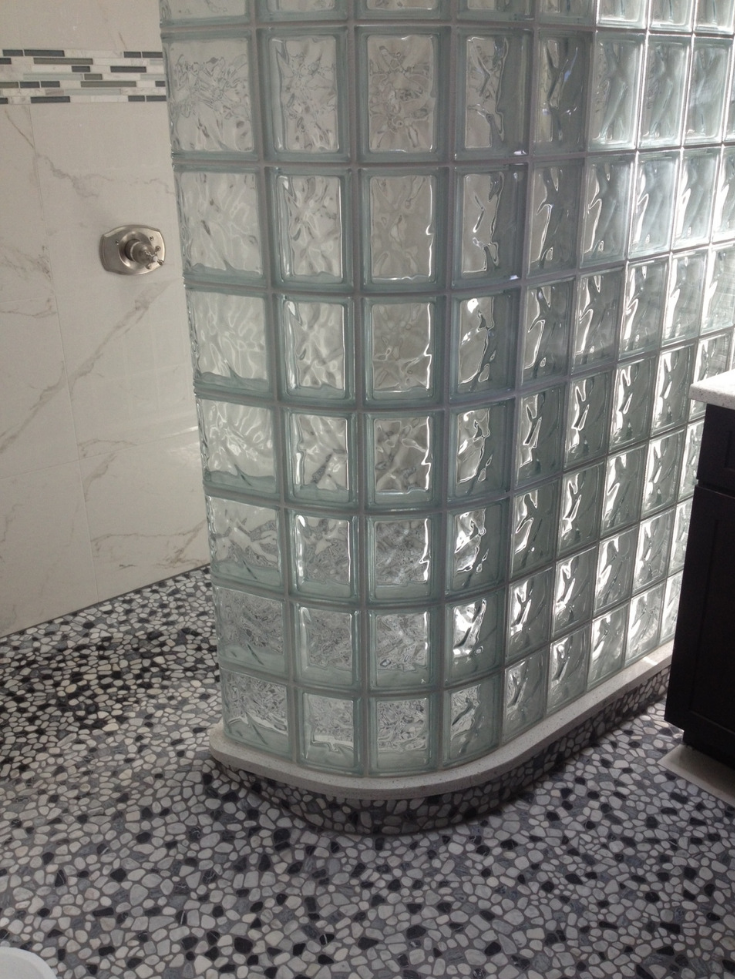 Ready for tile shower pan with the completed shower | Innovate Building Solutions | #GlassBlockShower #GlassBlockBase #ShowerBase