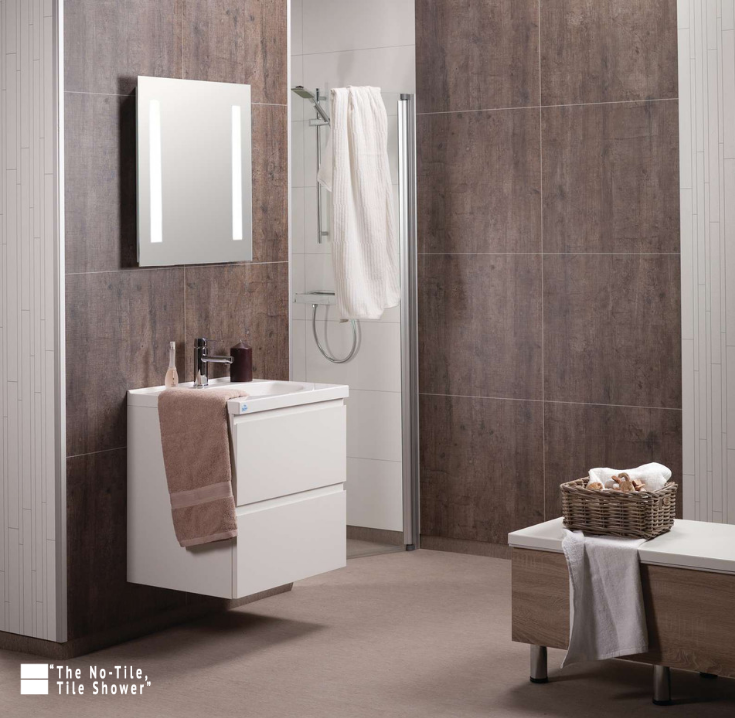 Rough wood laminated bathroom wall panels | Innovate Building Solutions | #ShowerPanels #LaminatePanels #BathroomWallPanels