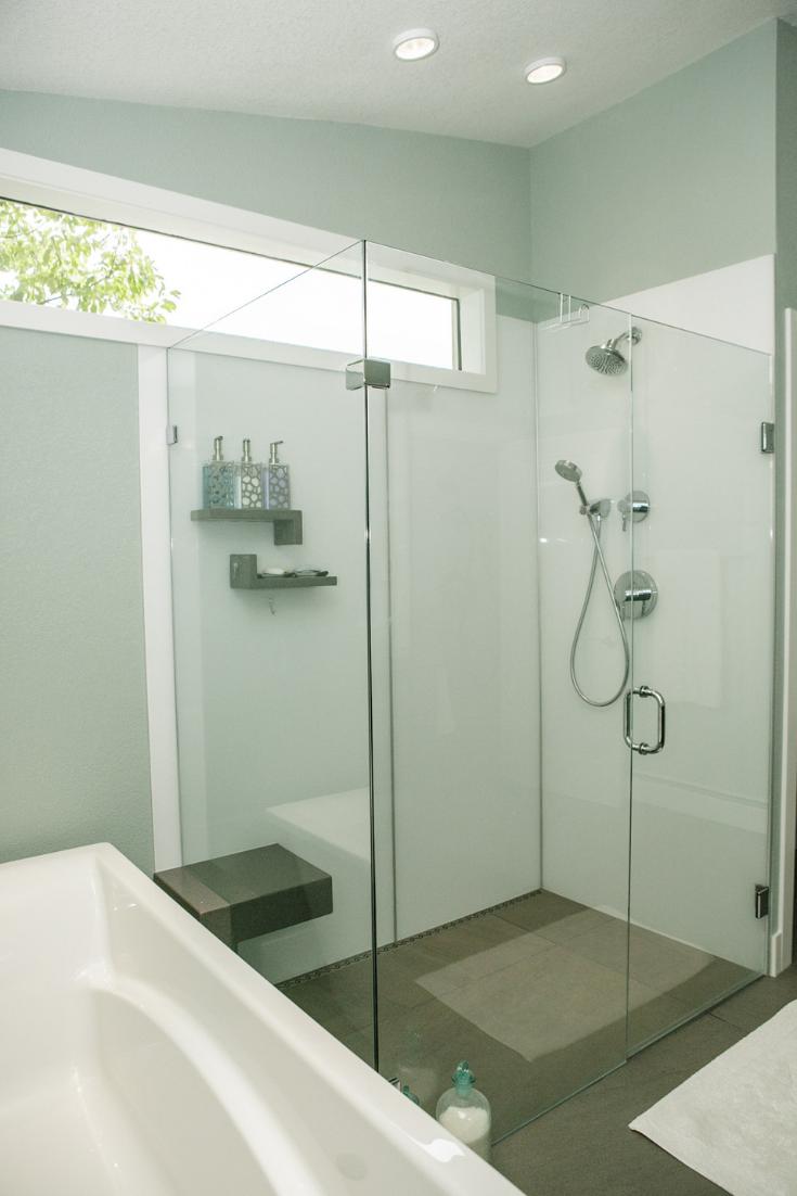 Scandanavian design white gloss shower wall panels   Innovate Building Solutions   #WhiteGlossPanels #ShowerPanels #BathroomRemodel