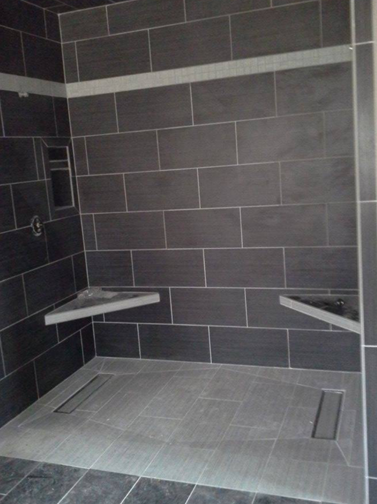 Shower pan with a linear drain and large tiles | Innovate Building Solutions | #ShowerPans #TileShower #BathroomRemodel